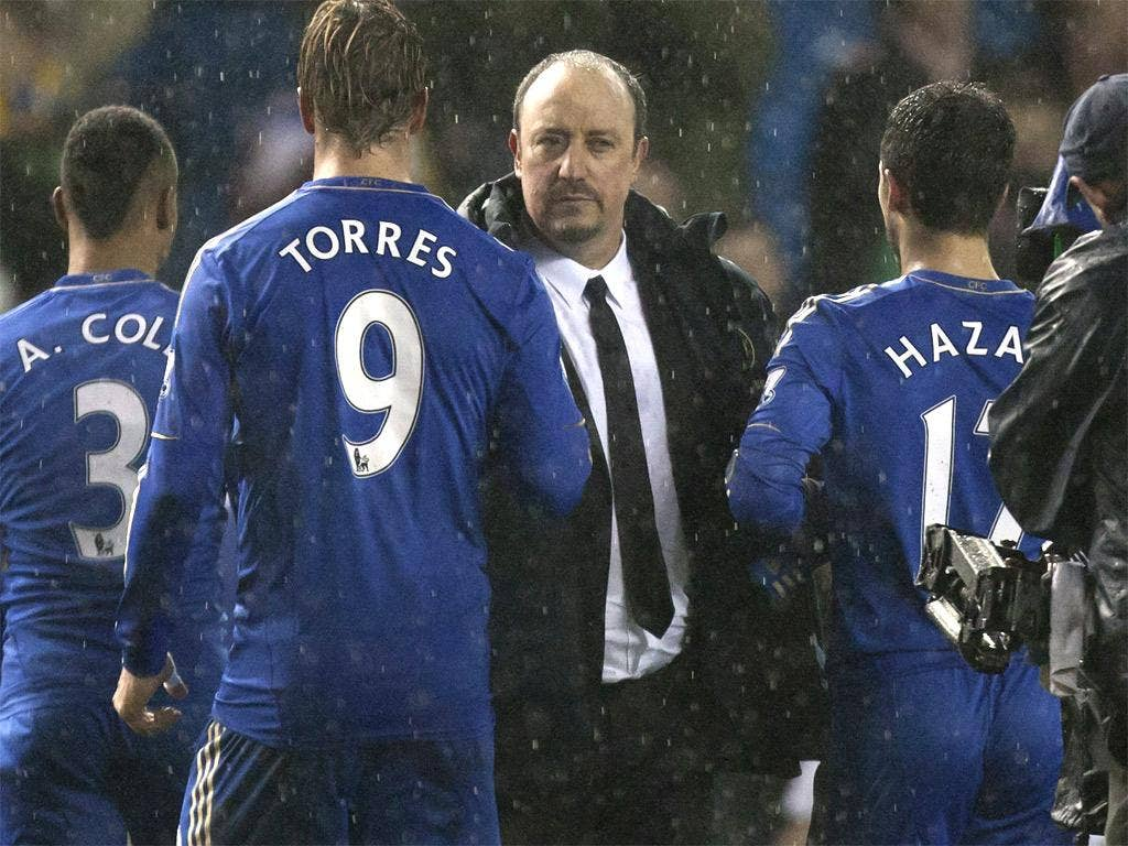 Rafa Benitez congratulates his Chelsea players last night