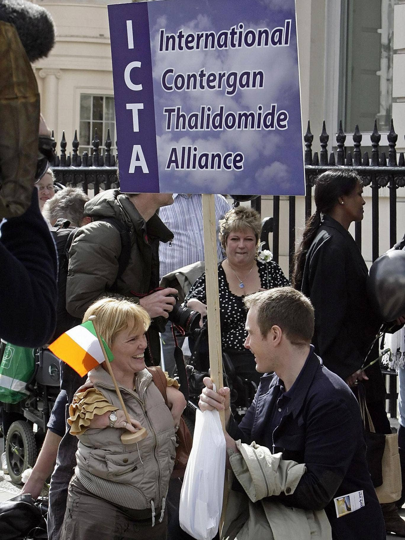 The International Contergan Thalidomide Alliance attends a protest outside the German embassy in London in 2008