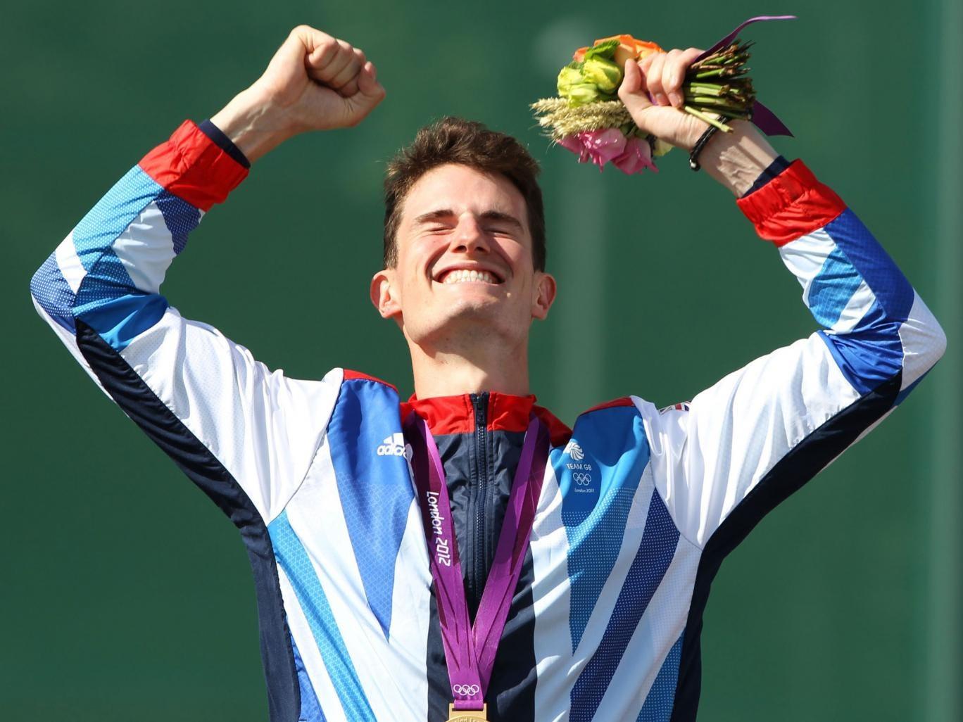 Peter Wilson celebrating Olympic success