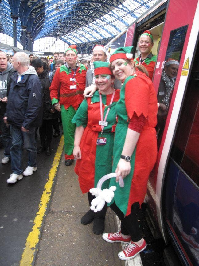 Elf and happiness: the 10.10am arrives in Brighton