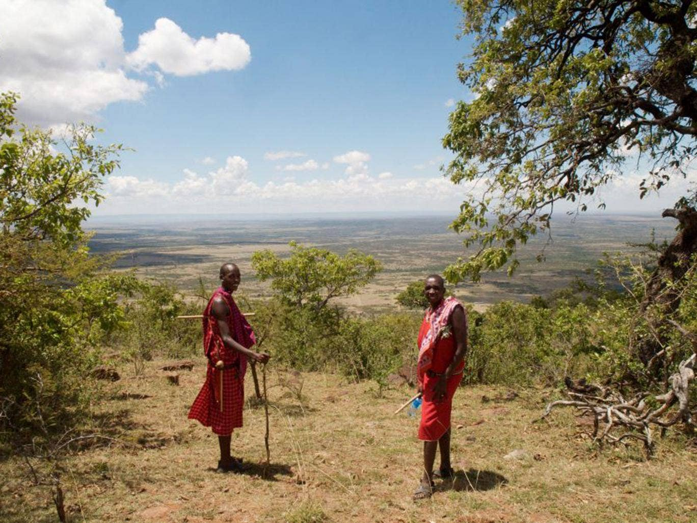 New friends: Maasai villagers Shinka and Taiyio