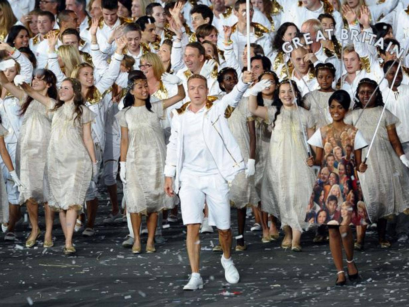 Sir Chris Hoy leads out Britain's Olympic team at the opening ceremony