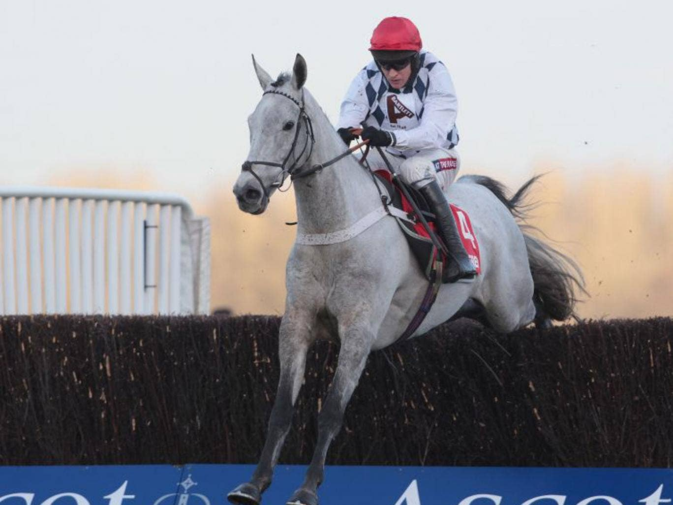 Simonsig, ridden by Barry Geraghty, clears the last to win the Noel Novices Chase at Ascot yesterday