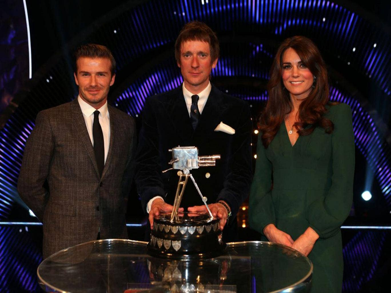 Tabloid favourites David Beckham and the Duchess of Cambridge were there to endorse the people's choice, Bradley Wiggins
