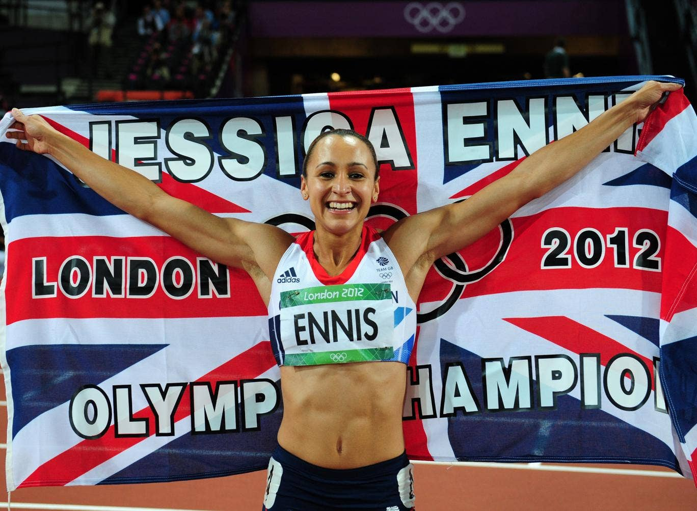 Jessica Ennis, 26, won gold in the heptathlon at the Olympics.  Despite the pressure of being dubbed the face of London 2012, the Sheffield star won gold when she clocked a British points record of 6,955 and set the fastest-ever heptathlon time in the 100