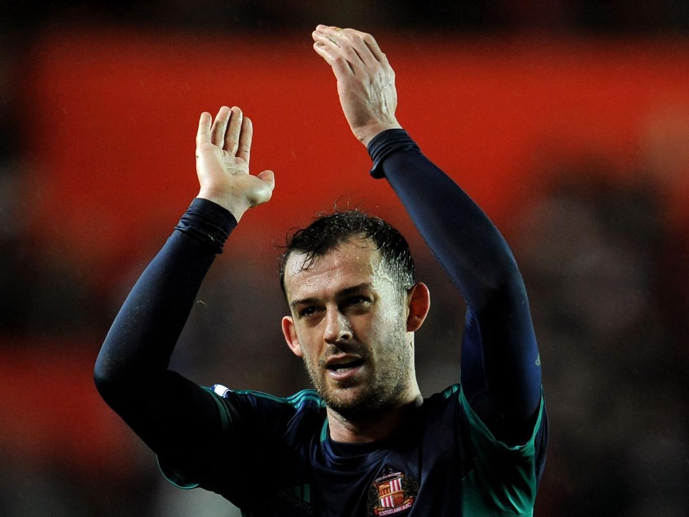 Goalscorer Steven Fletcher of Sunderland applauds the travelling fans