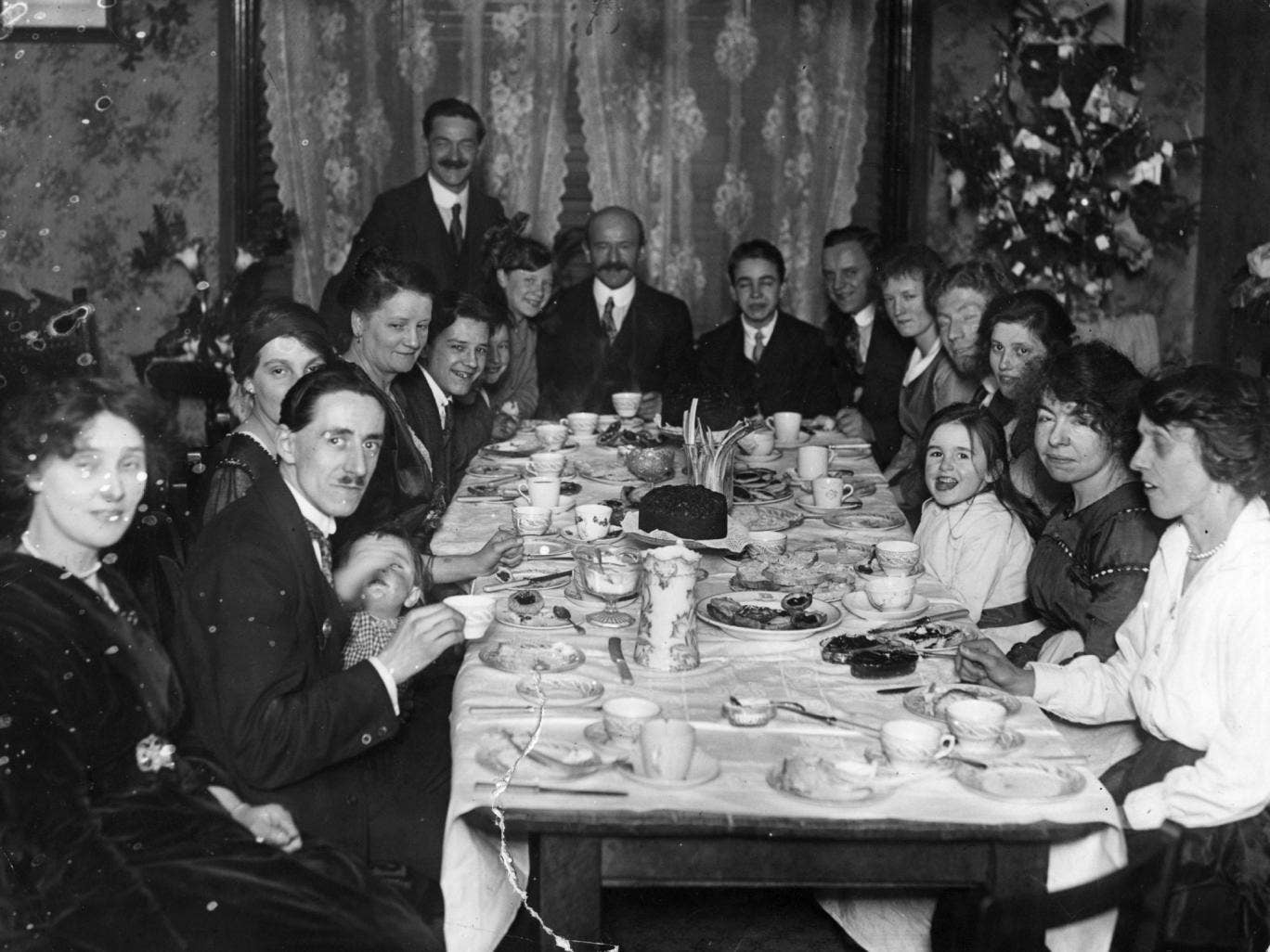 Feast day: Christmas tea for a family in 1919. Menus change, but not the spirit