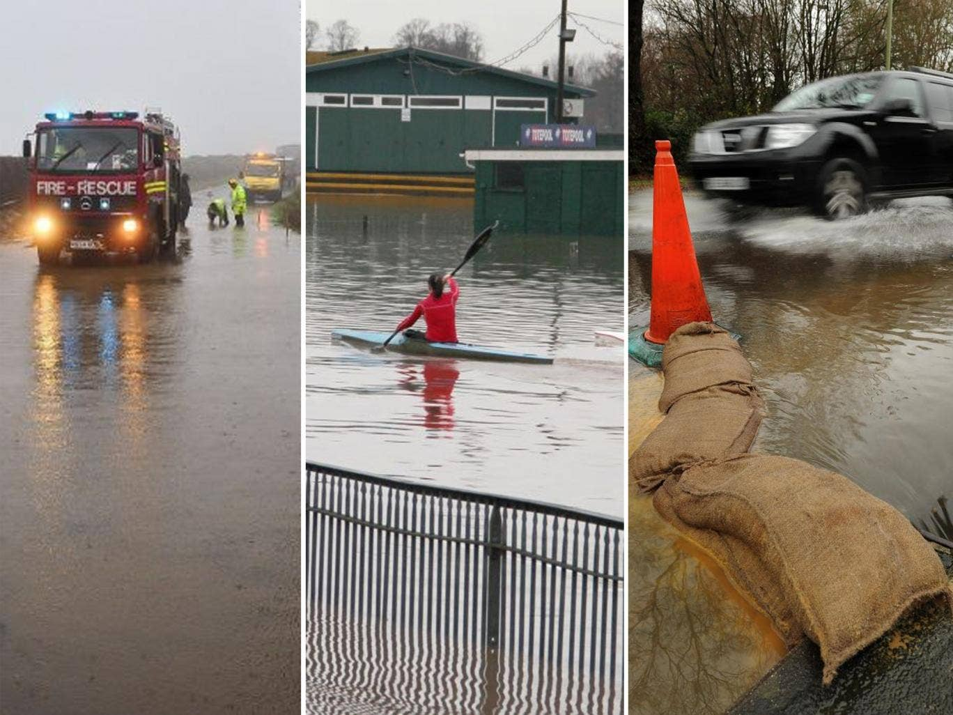 Fire and Rescue services work to clear a section of the A399 in North Devon, kayakers train on a flooded Worcester Racecourse and a vehicle makes its way through flood water on Calmore Road in Totton, Hampshire