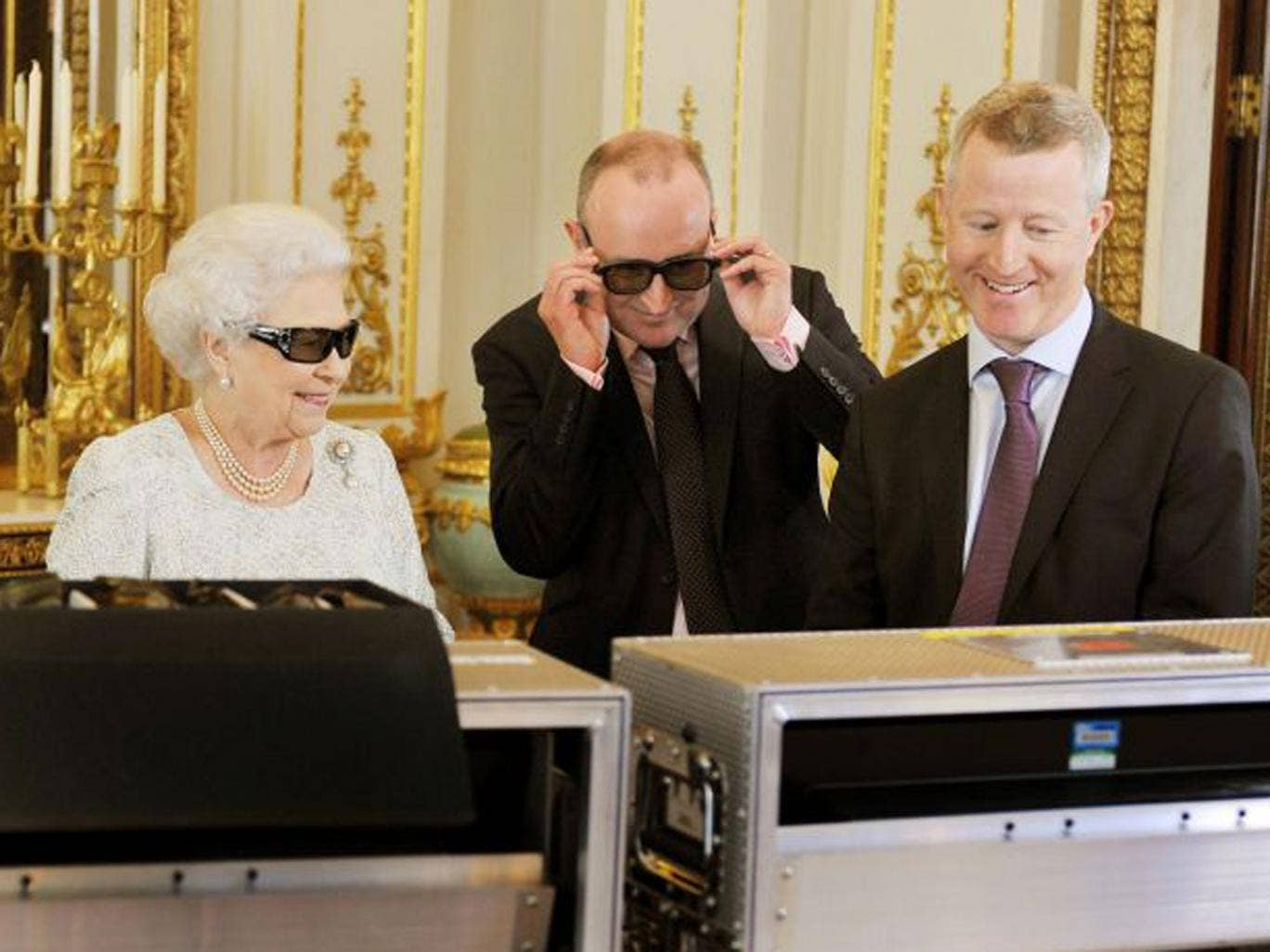 The Queen watches a recording of her Christmas message