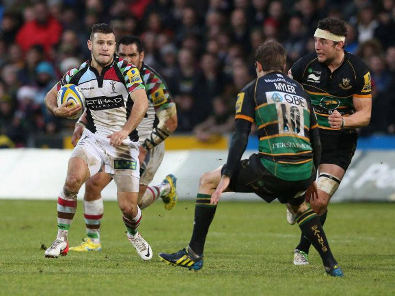 Danny Care makes a break during the victory over Northampton