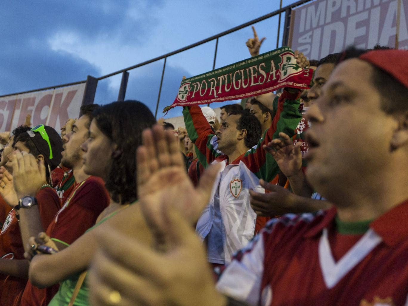Sao Paulo's Candide Stadium fills up with Portuguese soccer supporters