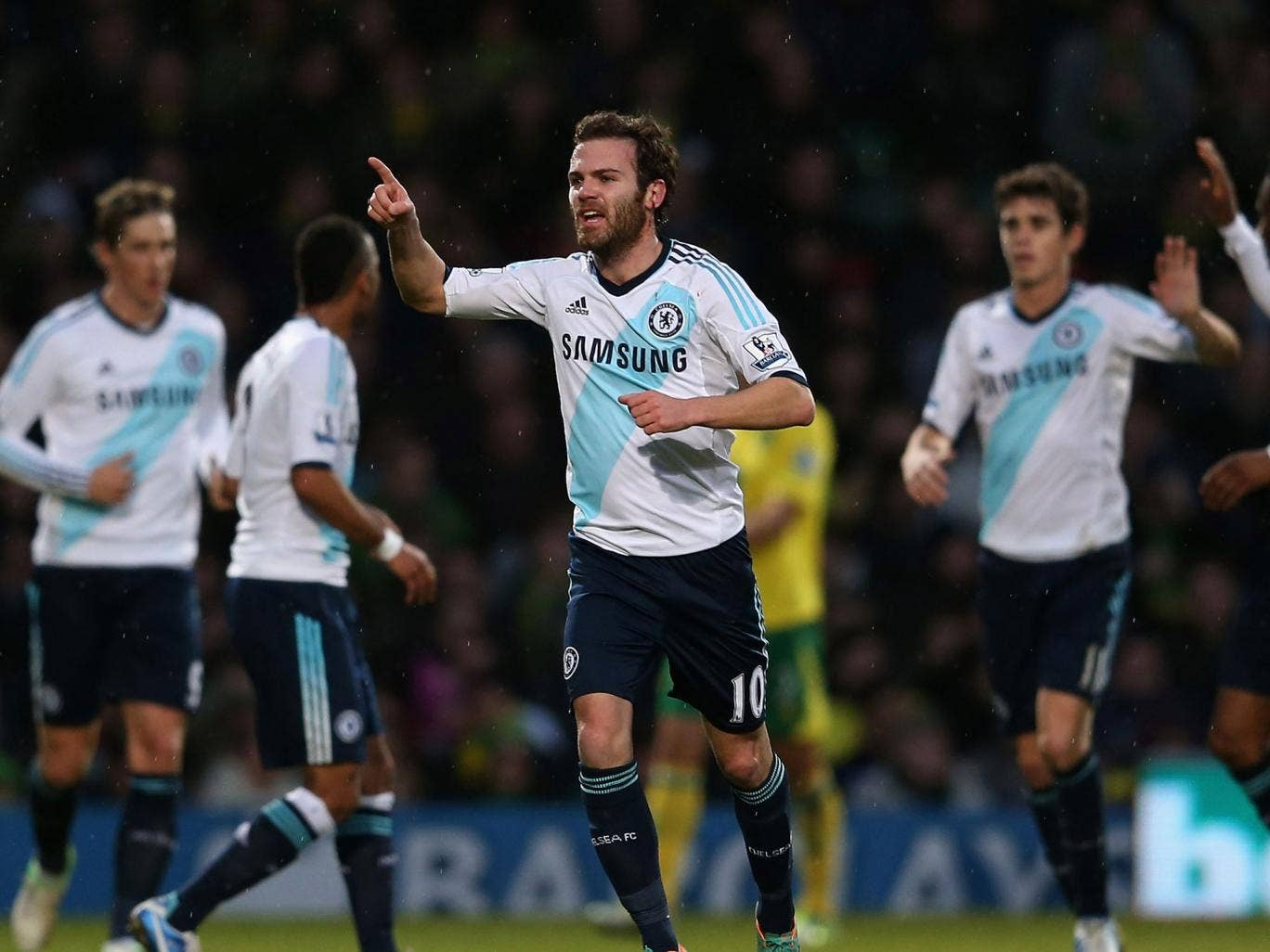 Juan Mata celebrates Chelsea's opening goal