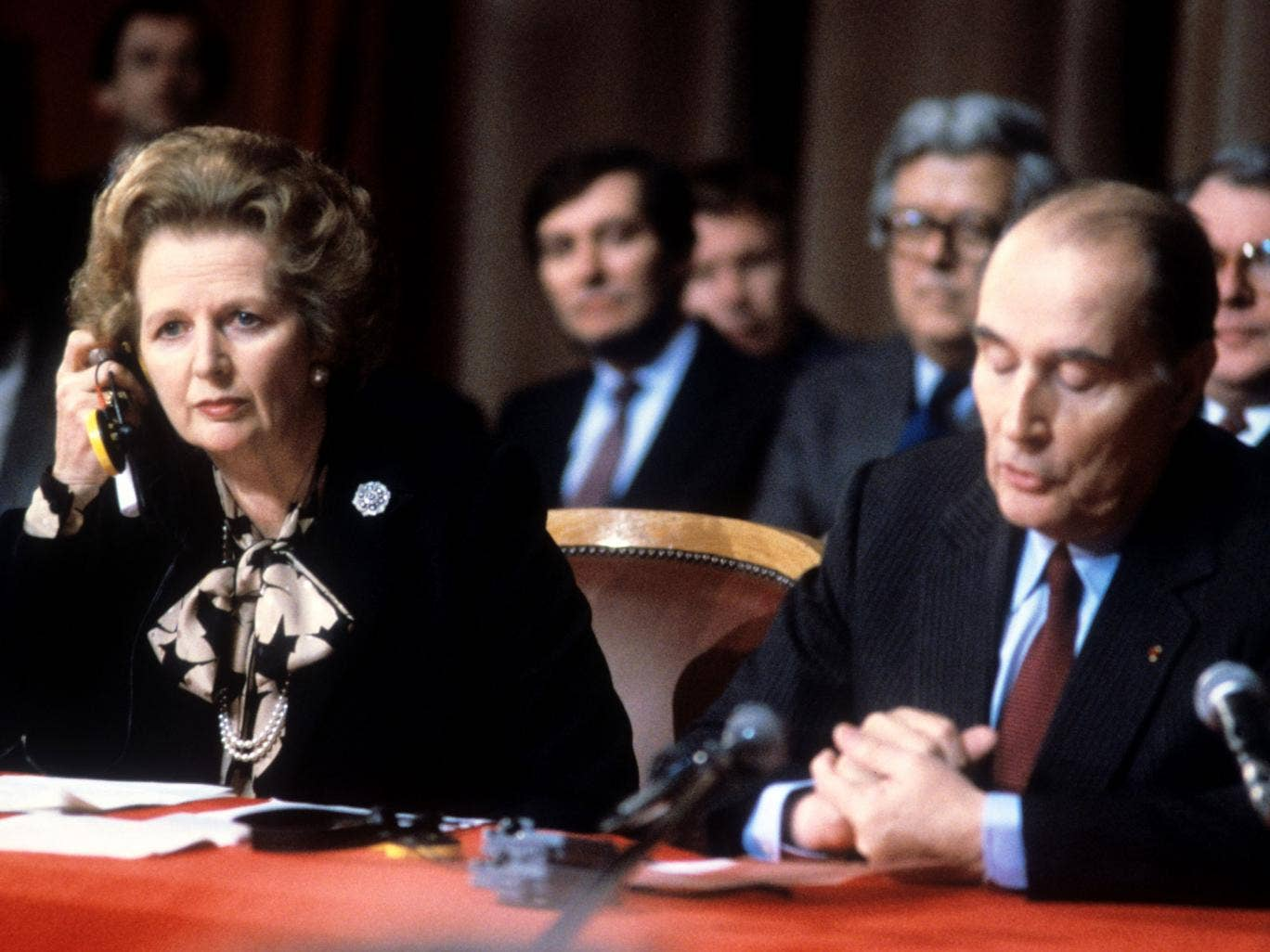 Margaret Thatcher in the 1980s with François Mitterrand