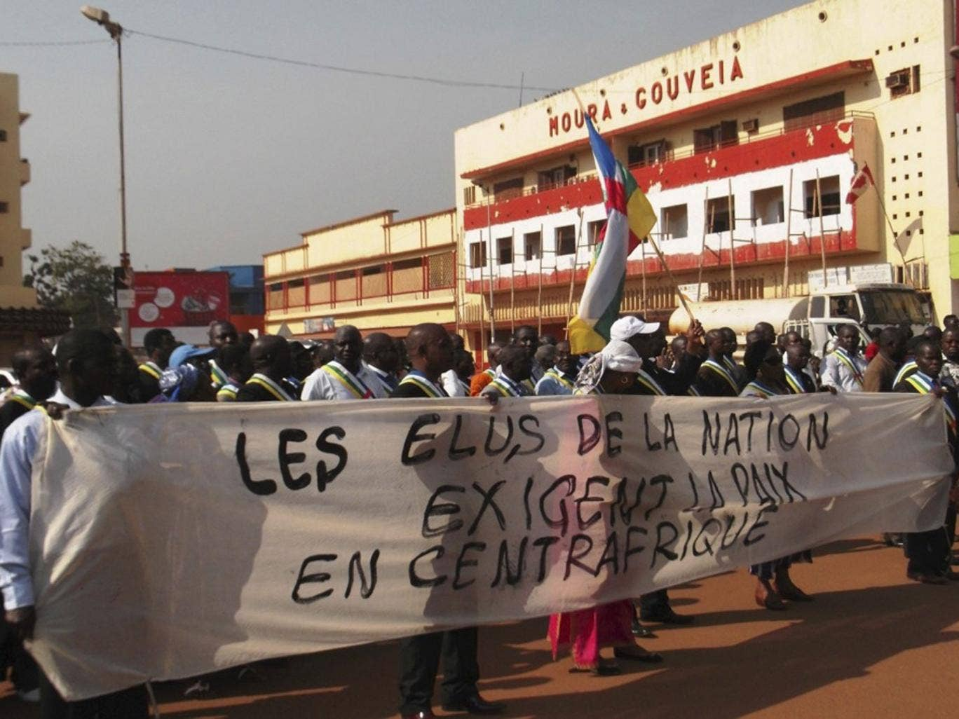 Protesters in the Central African Republic capital, Bangui, demanding the French do more to help stop the rebel advance