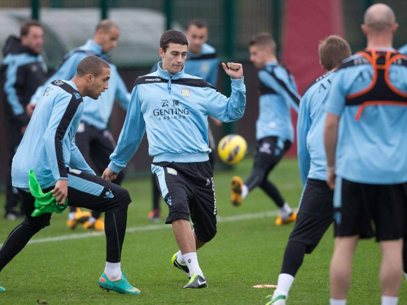 Youngsters Jordan Bowery (left) and Matthew Lowton lead the way in Villa training yesterday