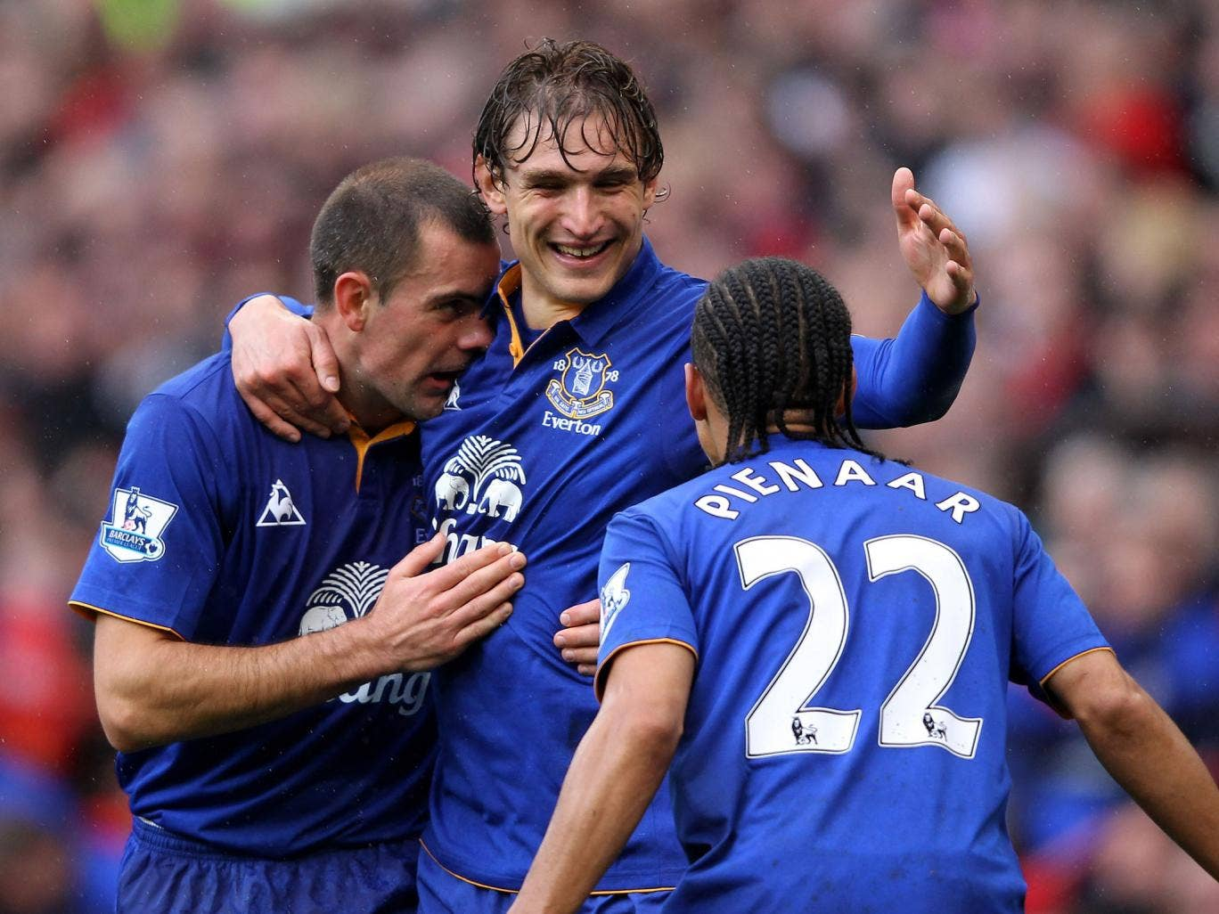 Triple whammy: The arrival of Nikica Jelavic (centre), Darron Gibson (left) and Steven Pienaar in the last January window boosted Everton