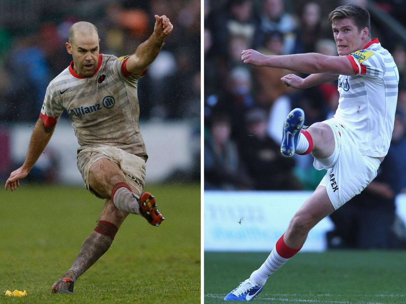 Making a point: Saracens see the many penalties converted by Charlie Hodgson (left) and Owen Farrell as reward for the team's pressure
