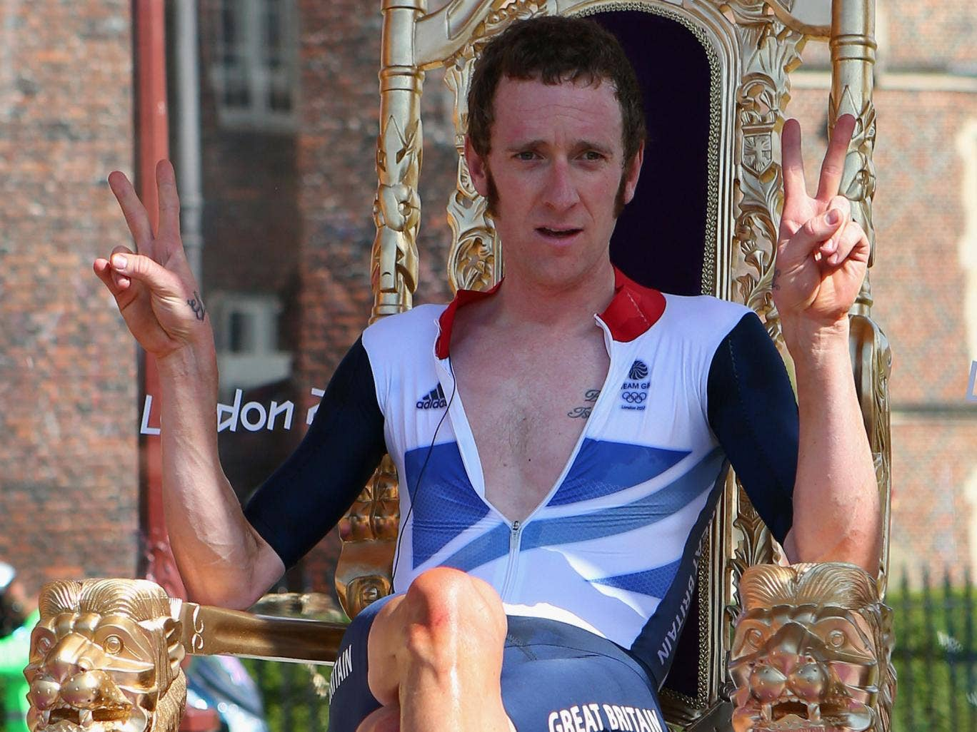 Bradley Wiggins holds court after winning the Olympic time trial