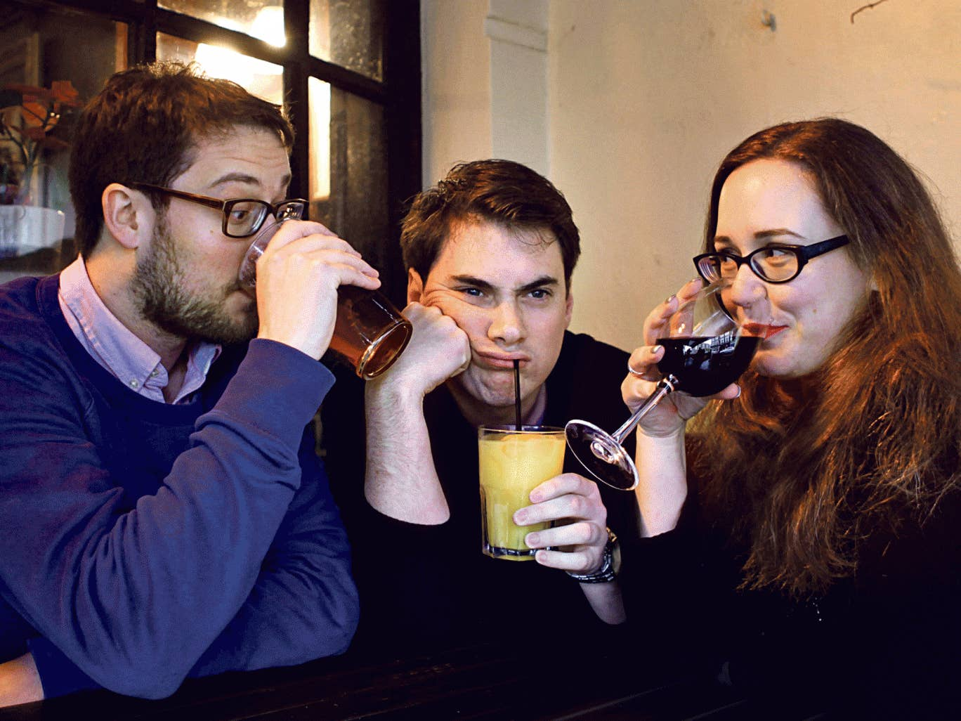 Lonely non-drinker: Jamie Merrill (centre) sticks to the soft stuff