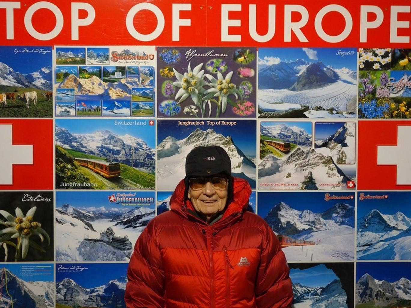 George White ascending the Eiger mountain – or at least part of it – in Switzerland