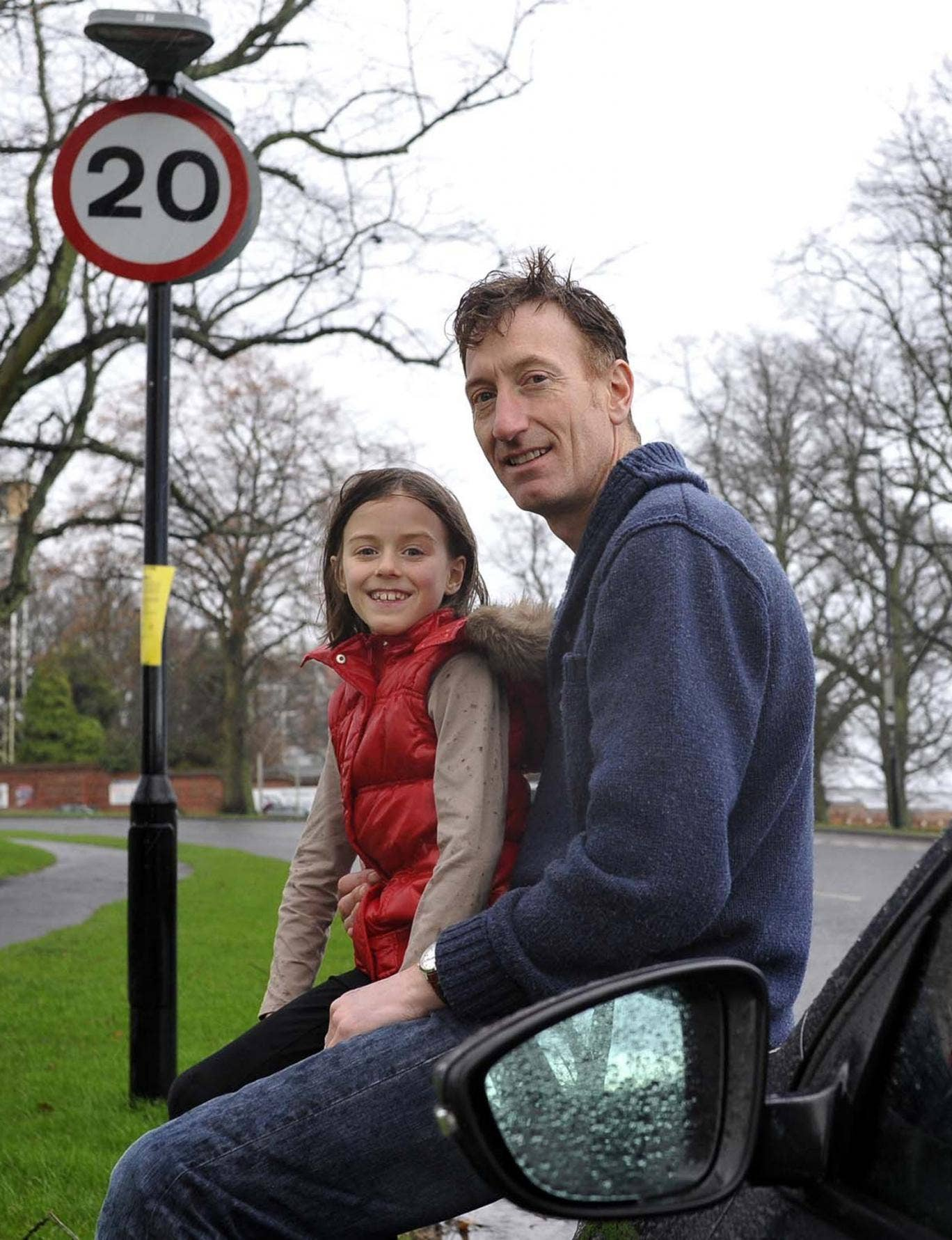 Jonathan Brown with his daughter Olivia near their home in York