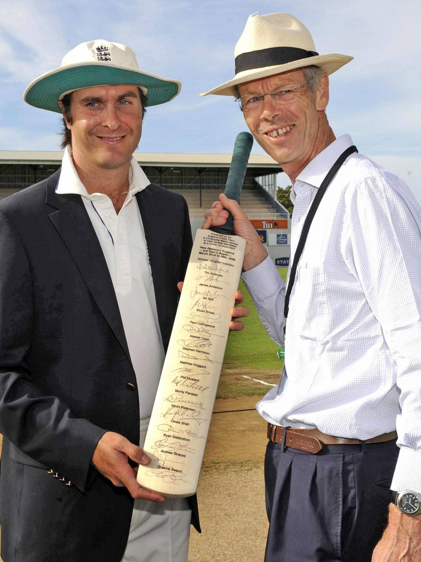 England captain Michael Vaughan presents a special bat to Christopher Martin-Jenkins in 2008