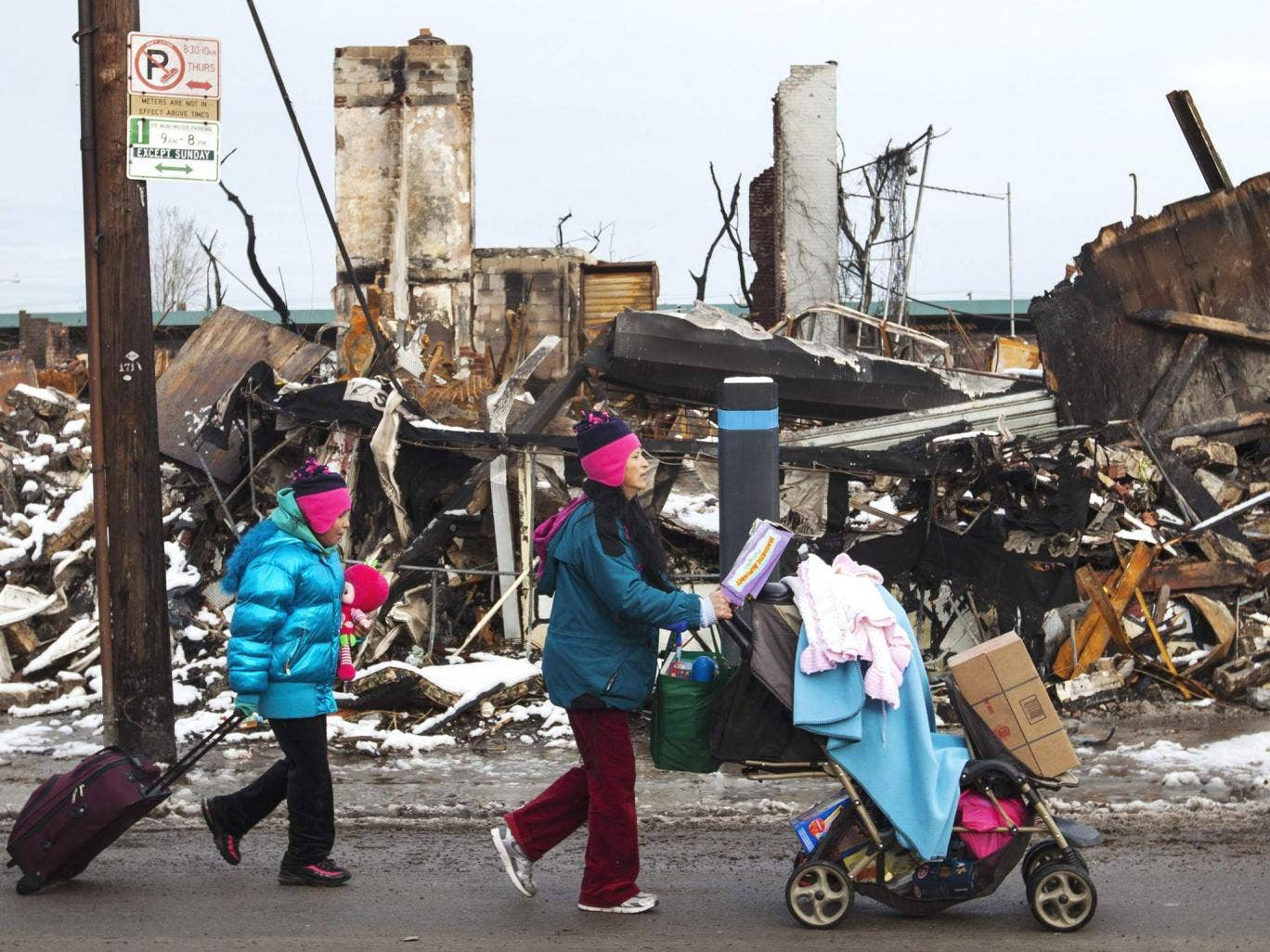 The aftermath of Hurricane Sandy in the Queens neighborhood of Rockaway Park