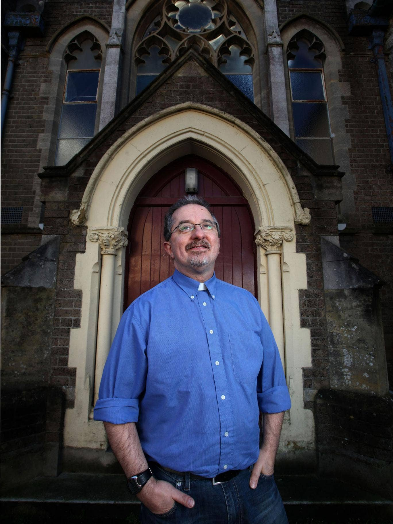 Benny Hazlehurst, who now works as a prison chaplain, at his local church in Dorchester