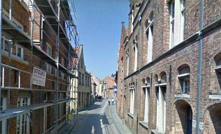 The narrow Bruges street where the crash occurred