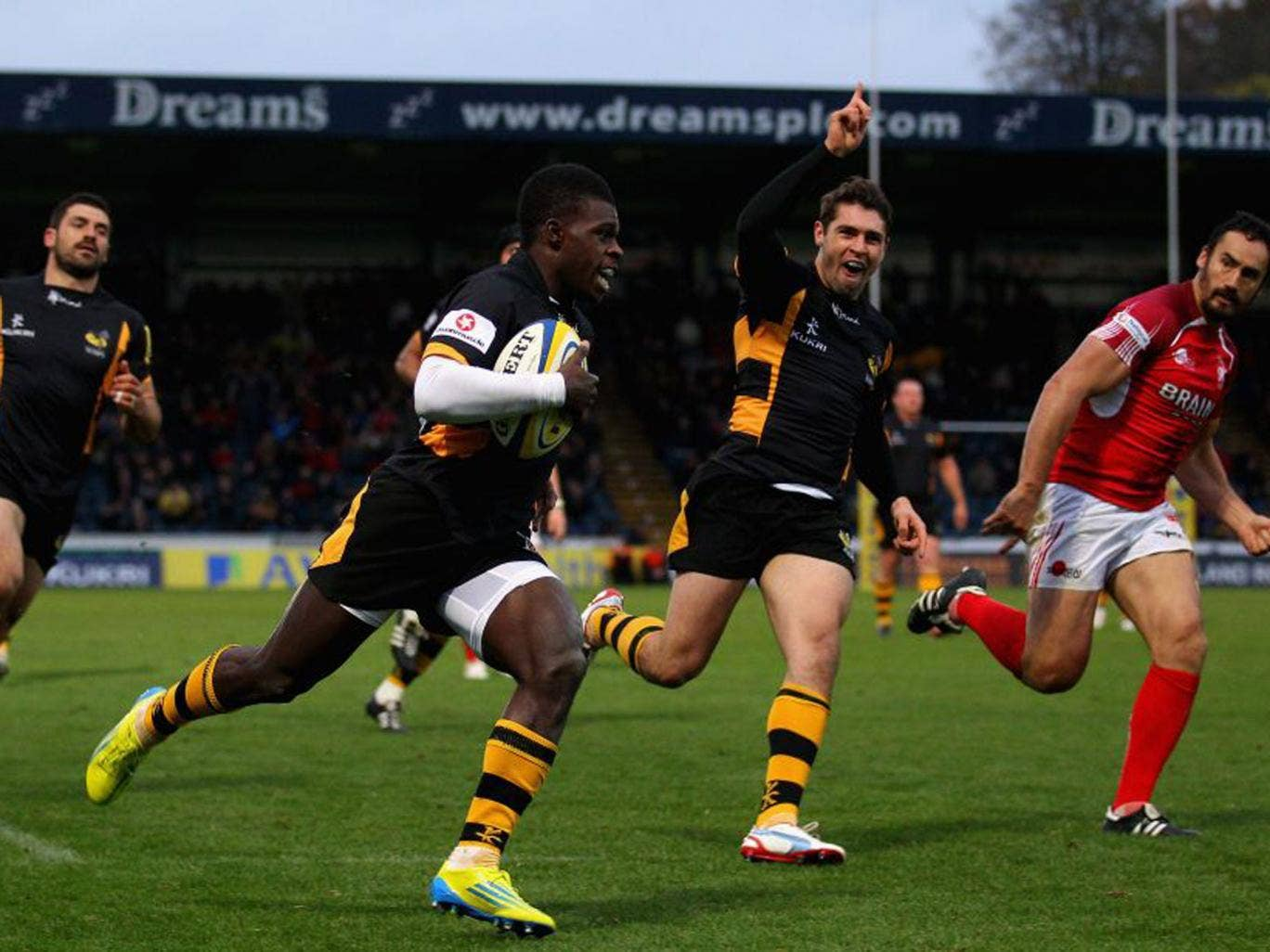 Christian Wade (centre) will provide pace and danger for Wasps