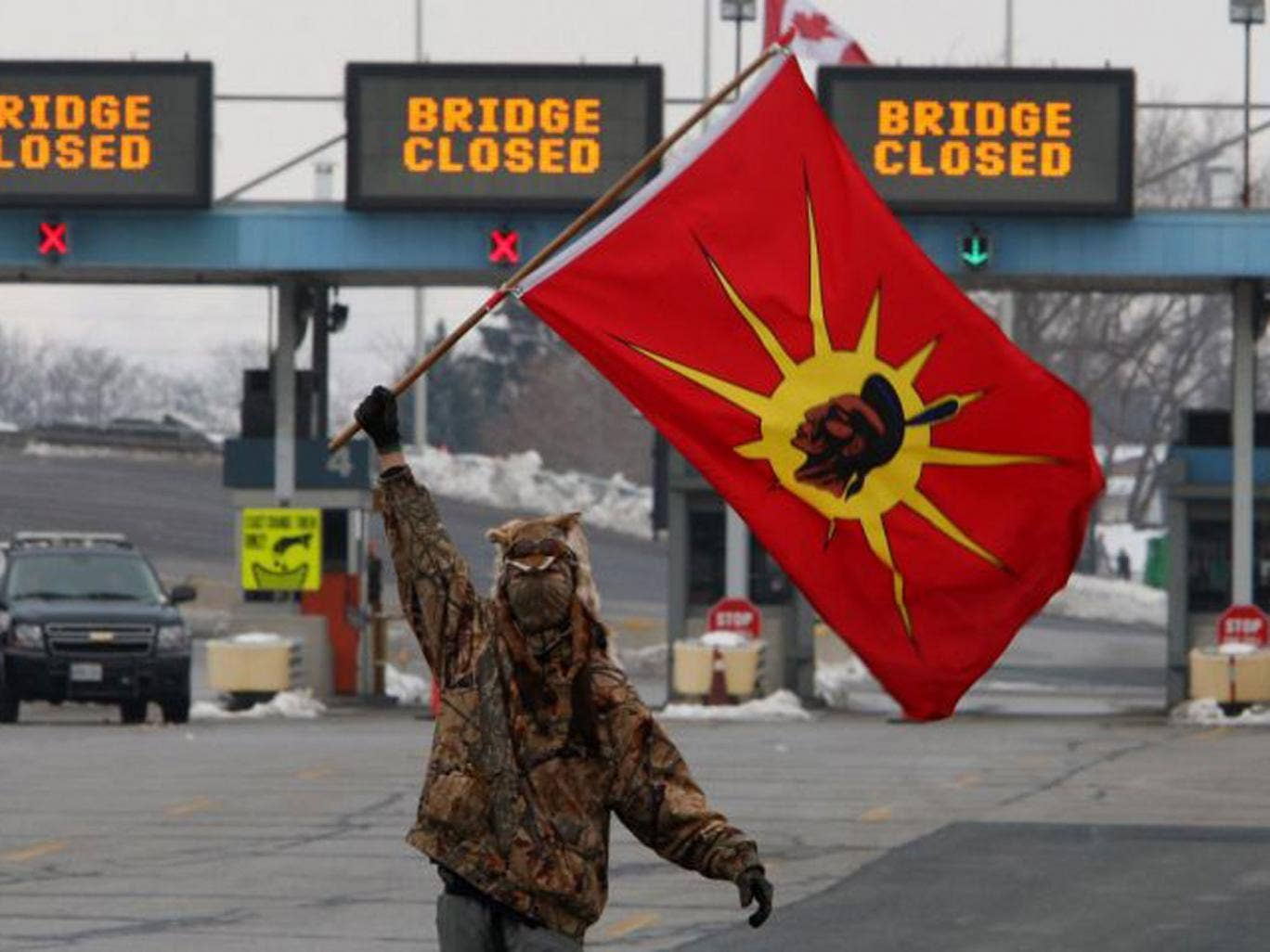 A First Nation activist at a blocked border crossing in Sarnia, Ontario