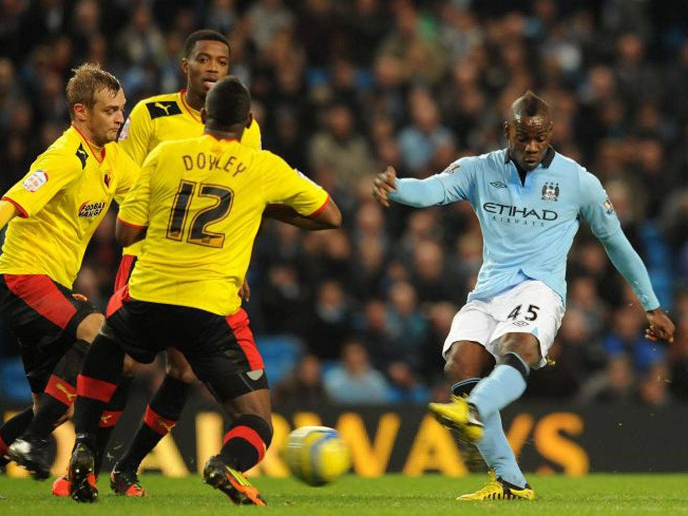 Mario Balotelli fires in a shot after coming on as a substitute on Saturday