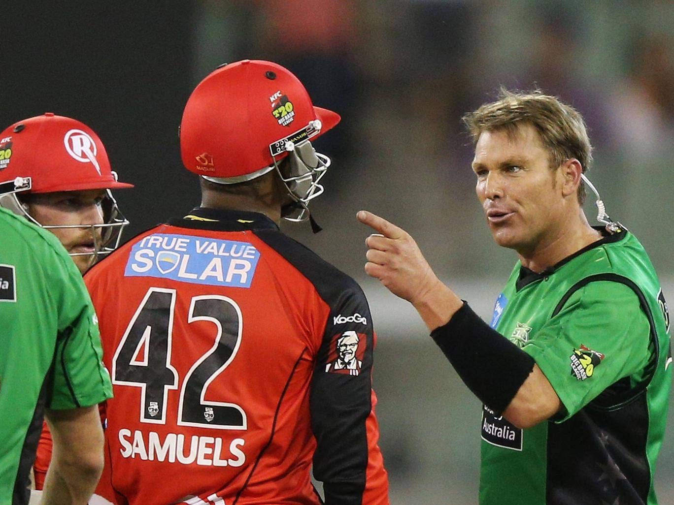 Shane Warne comes together with Marlon Samuels