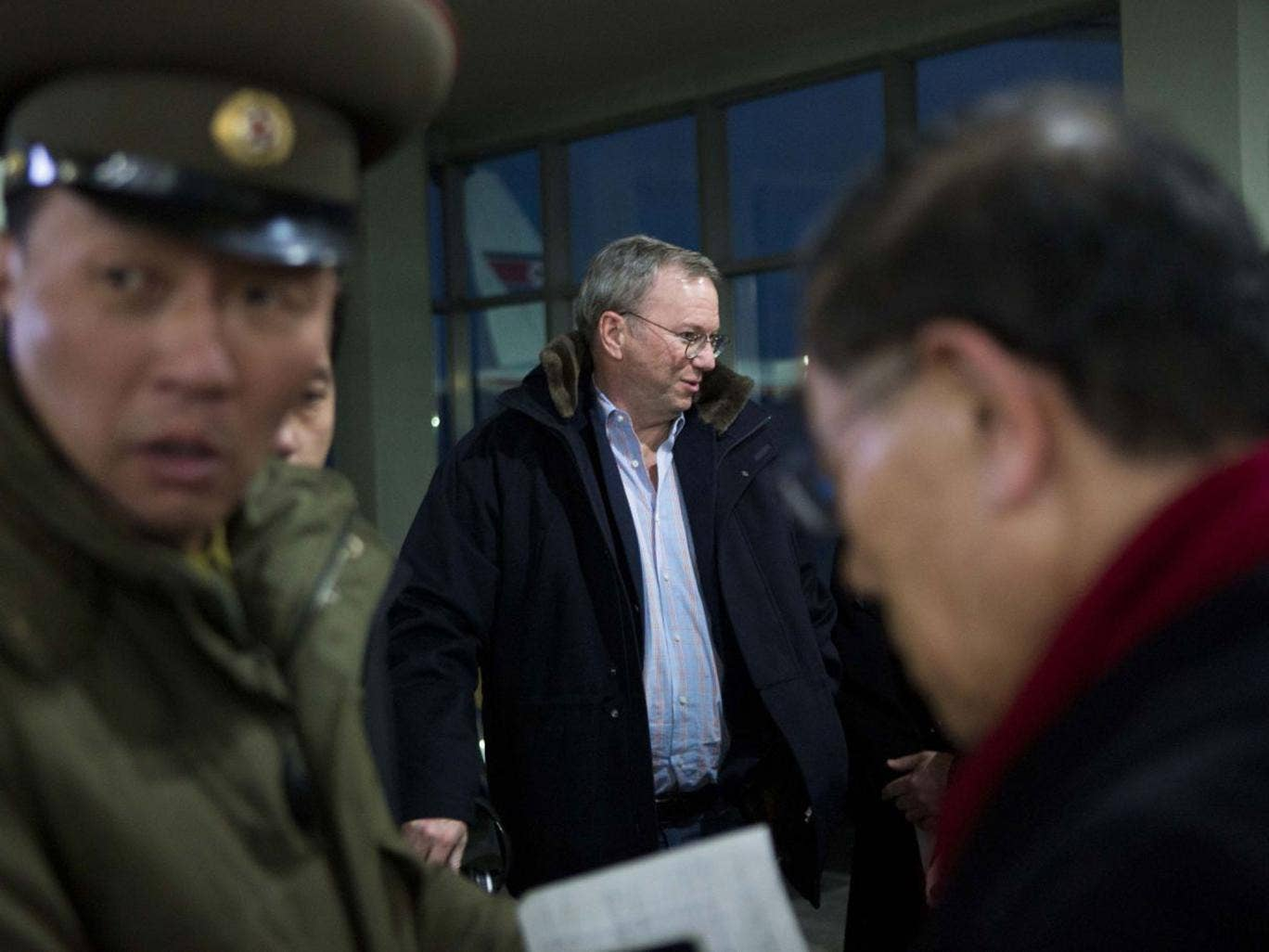 The Google chairman Eric Schmidt arrived in North Korea yesterday saying he wanted a first-hand look at the country's economy and media