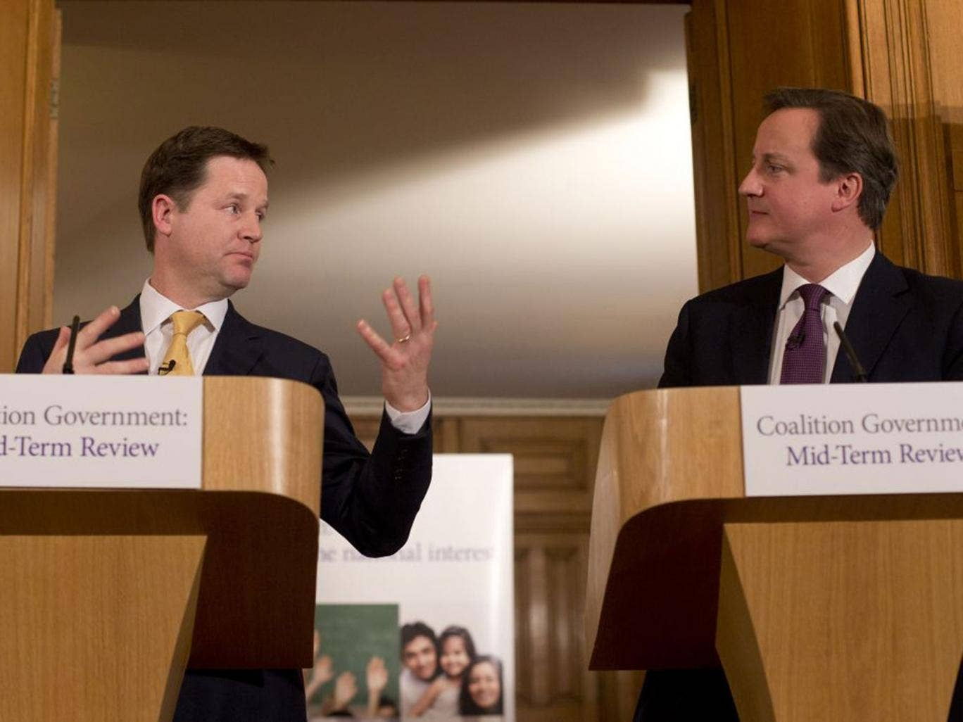 David Cameron and Nick Clegg during their joint press conference in 10 Downing Street yesterday