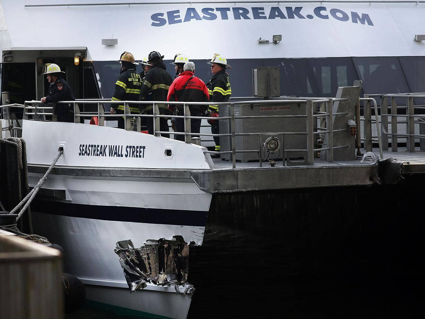 A gash in the Seastreak ferry after an early morning accident during rush hour in Lower Manhattan