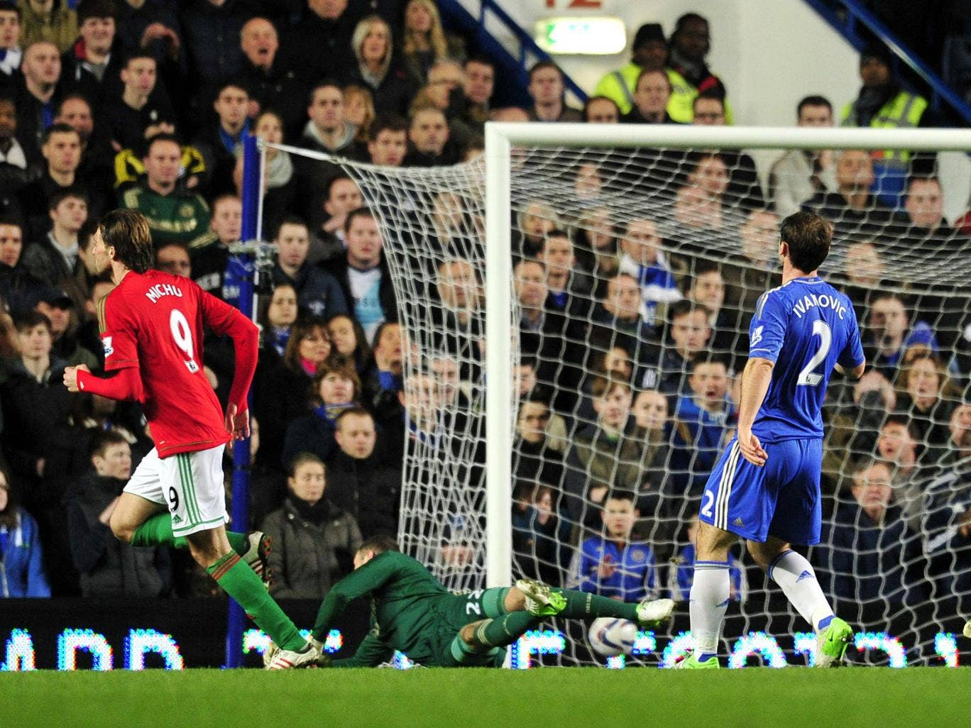 Michu scores for Swansea against Chelsea