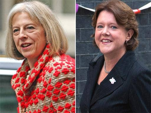 Bright Blue members include Theresa May, left, and Maria Miller
