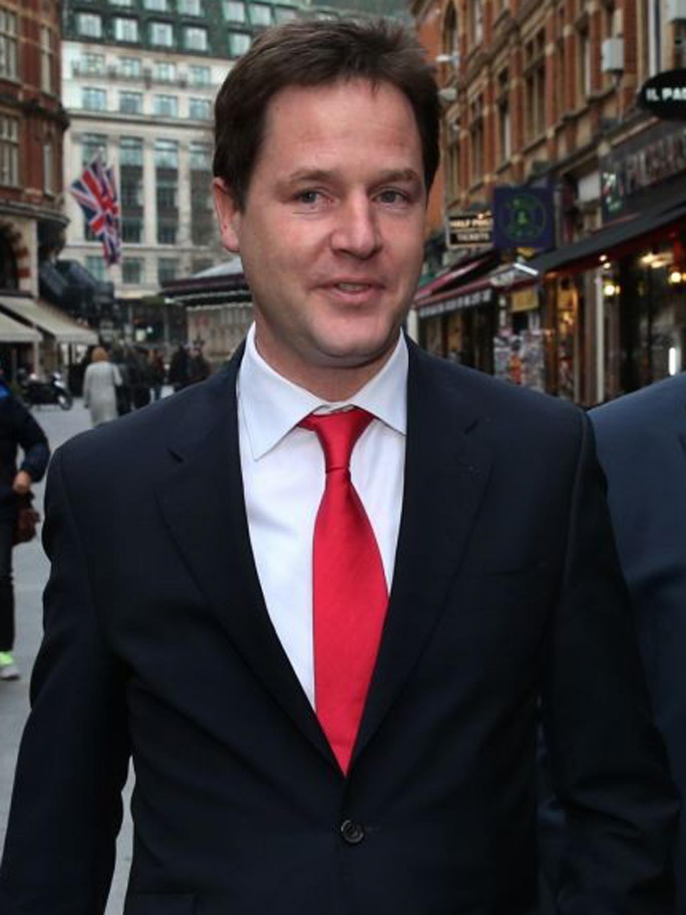 Nick Clegg in London yesterday