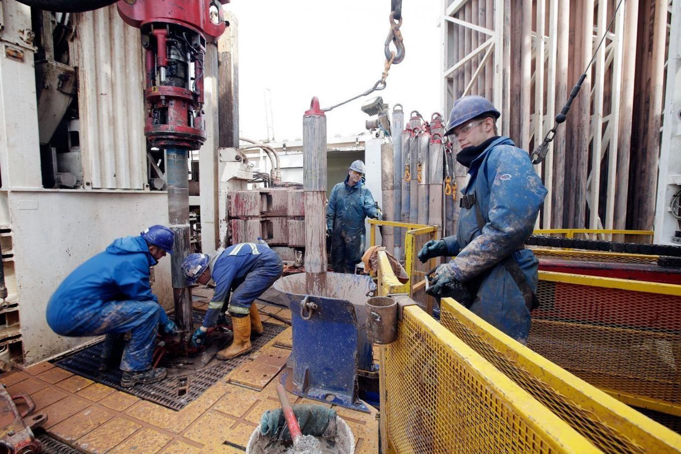 A shale fracking drill platform in Lancashire