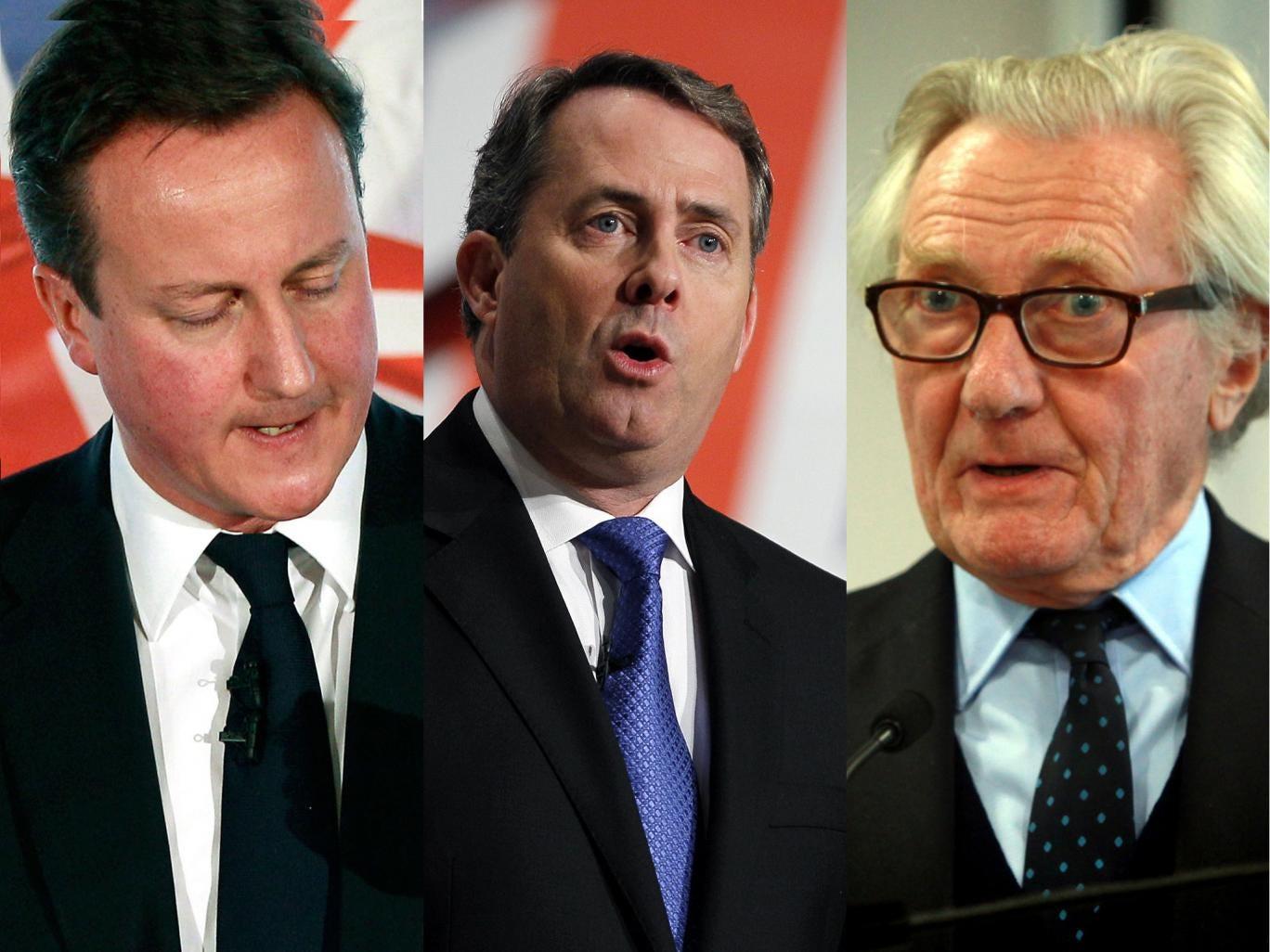 Shades of blue: David Cameron, Liam Fox and Michael Heseltine