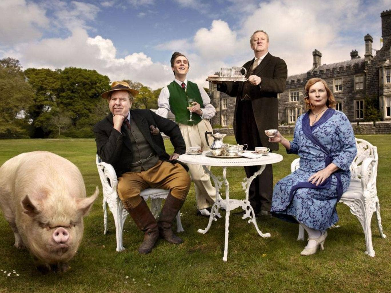 Timothy Spall, Jack Farthing, Mark Williams and Jennifer Saunders in 'Blandings'