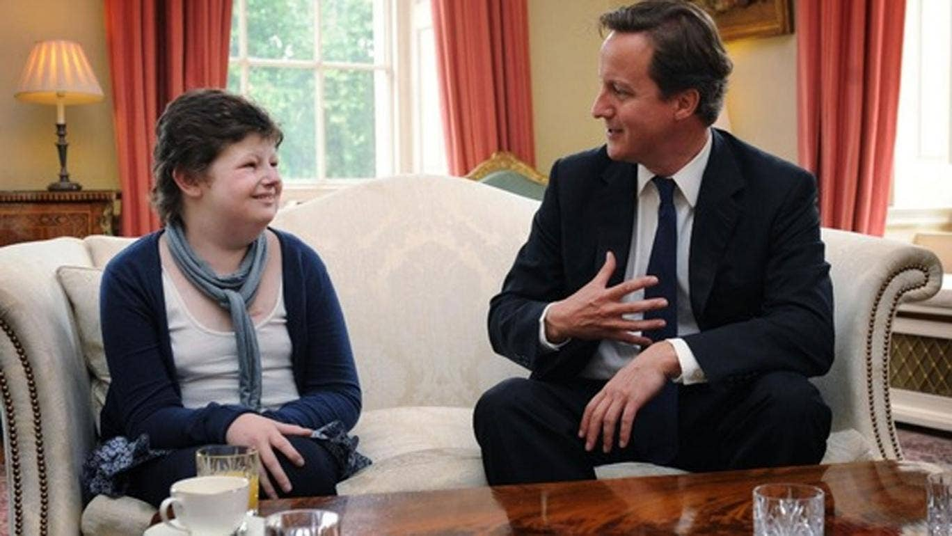 Alice Pyne with Prime Minister David Cameron