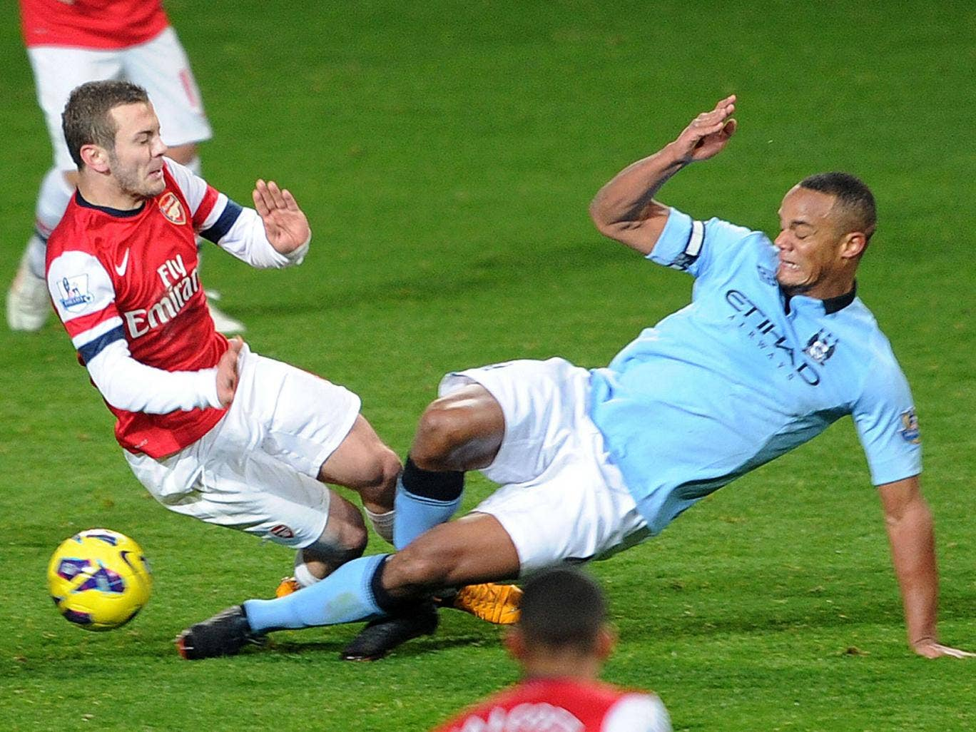 Manchester City will appeal Vincent Kompany's red card for this tackle on Jack Wilshere