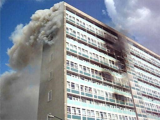 The blaze began when a television caught fire after being left plugged in on the ninth floor