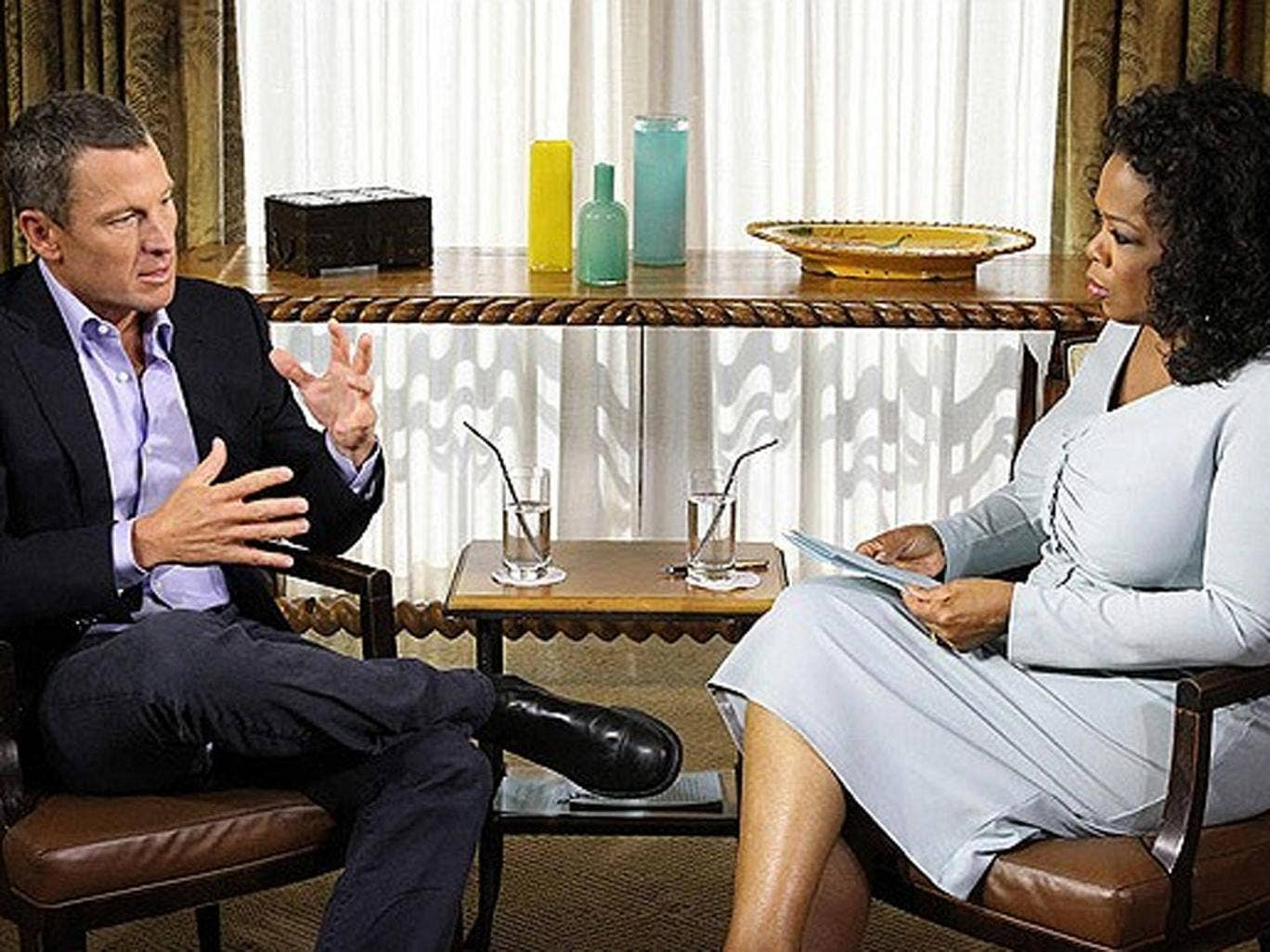 Lance Armstrong talks to Oprah Winfrey