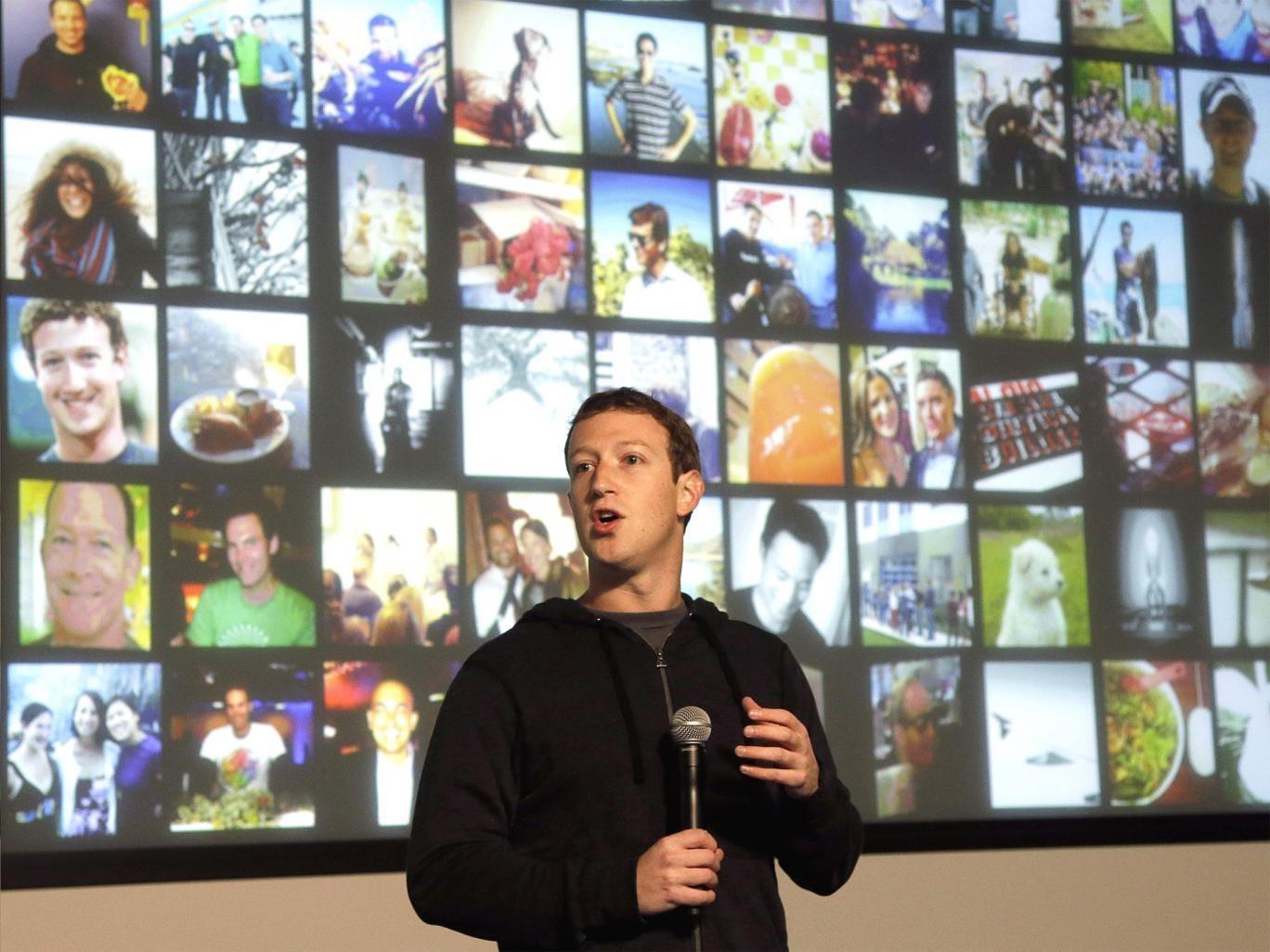 Mark Zuckerberg speaking at the Facebook headquarters in California