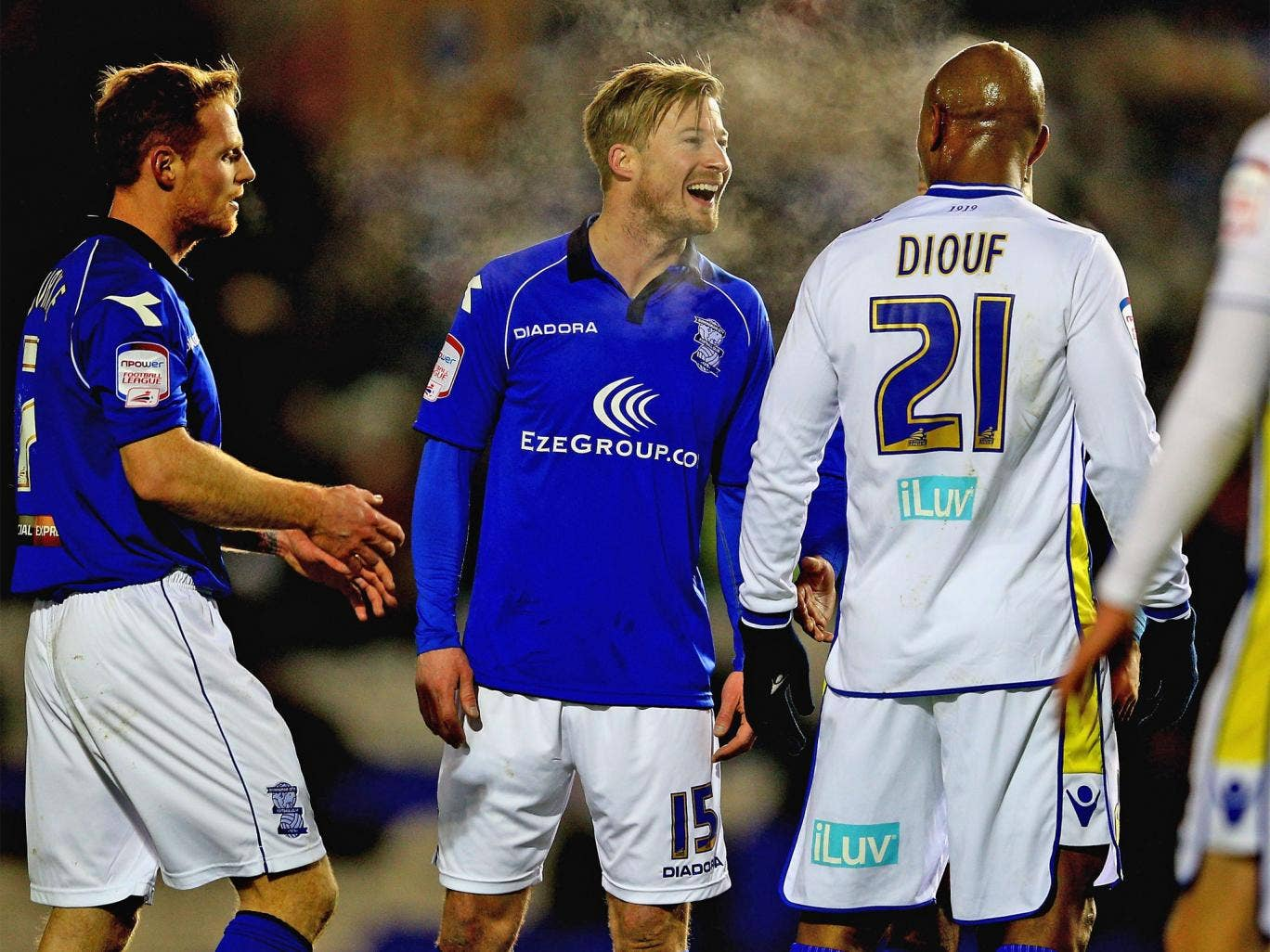 Goalscorers Wade Elliot, left, and El Hadji Diouf, share a joke