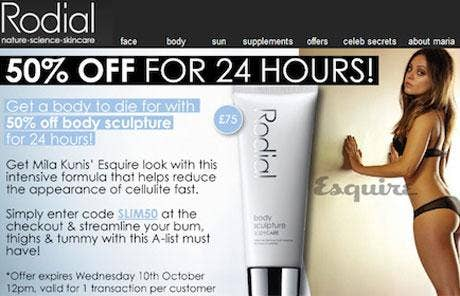 An email for a body cream that suggested actress Mila Kunis had used it to achieve her figure has been banned for misleading consumers