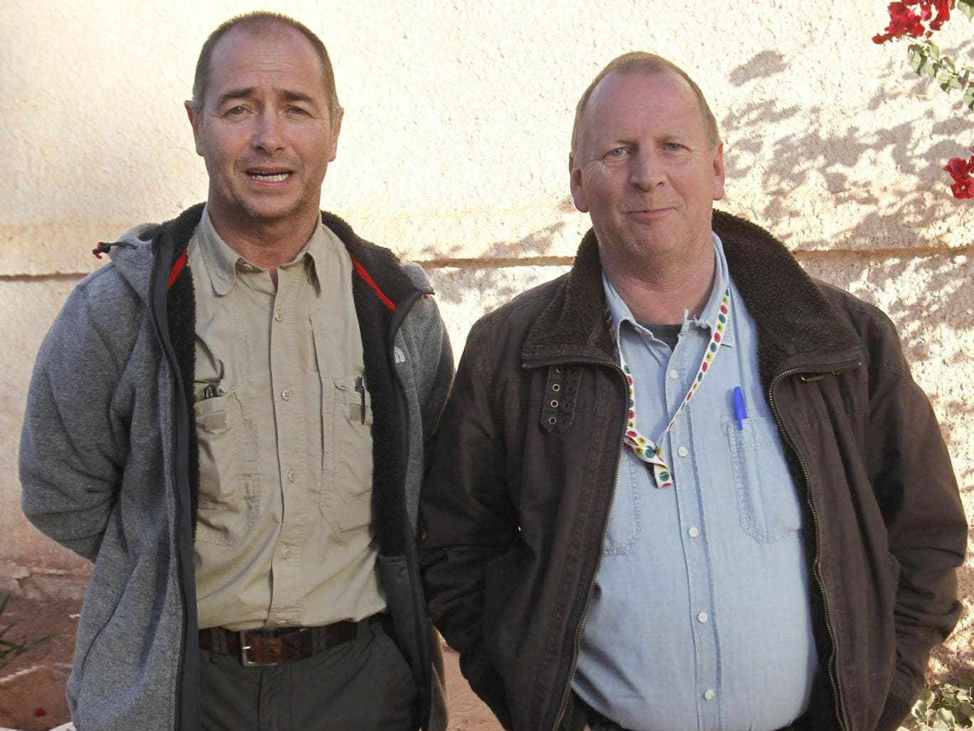Freed British hostages, identified only as Peter and Alan, near the site at In Amenas, Algeria, yesterday